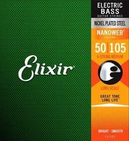 Elixir Nanoweb Nickel Plated Steel Bass Strings 50-105 Medium