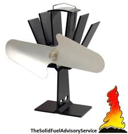 Heat Powered Stove Fan Wood Log Burner Top Eco Friendly - Black & Silver Nickel