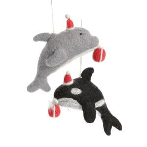 Orca and Dolphin with Present