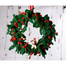 Small Holly Wreath with Fox Terrier