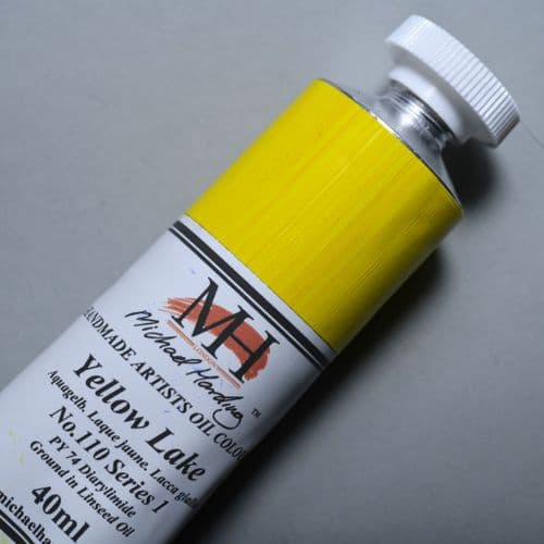 110 Yellow Lake Michael Harding Oil Colour, 40ml tube