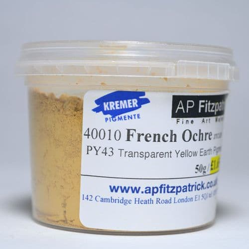 40010 French Ochre JTCLES Kremer Pigment, 50g plastic container