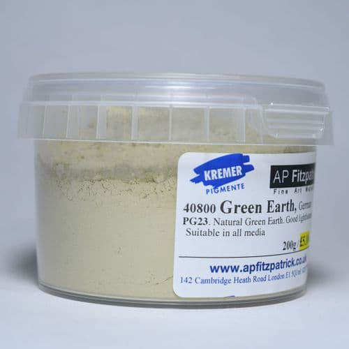 40800 German Green Earth Kremer Pigment, 200g plastic container