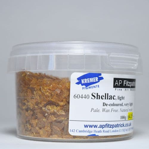 60440 Shellac Flakes, Light Kremer, 100g plastic container
