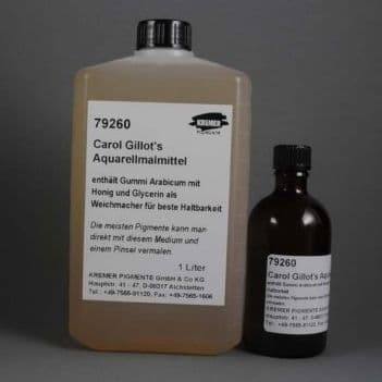 79260 Watercolour Medium (formulated with gum arabic, honey and glycerin). Kremer 1 lt bottle