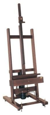 MABEF M/01 Studio Easel, Dark lacquer finish, electric-powered, Pedal operated