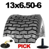 13x6.50-6 TYRE & TUBE SET FOR RIDE ON LAWN MOWERS 13 6.50 6