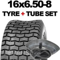 16x6.50-8 TYRE & TUBE SET FOR RIDE ON LAWN MOWERS 16 6.50 8
