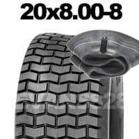 20x8.00-8 TYRE & TUBE SET FOR RIDE ON LAWN MOWERS 20 8.00 8