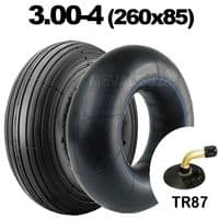 3.00-4 Tyre & Tube Rib Tread Pattern 260x85 10x3