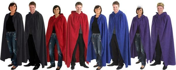Adult Mens and Ladies Cloak Robe Cape with Hood Halloween Fancy Dress Up Costume
