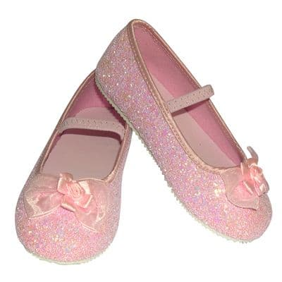 Girls Children's Sparkly Pink Glitter Bridesmaid Party Shoes