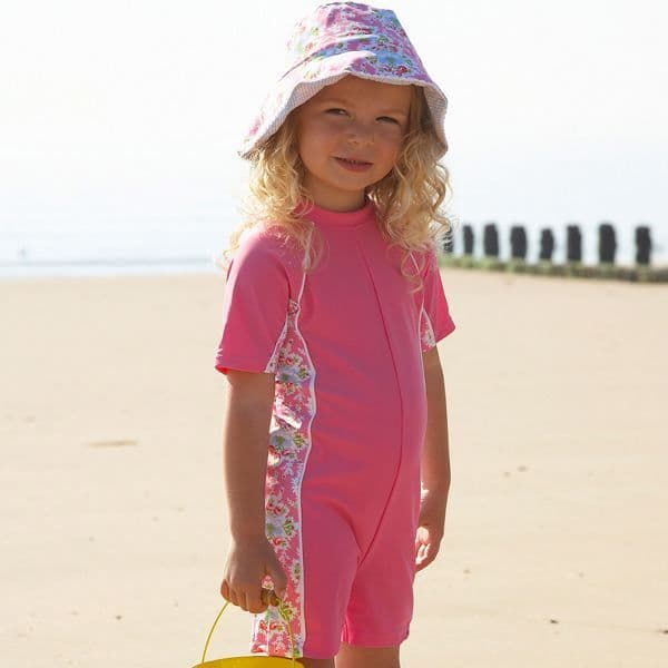 Mitty James Children's Baby Toddlers UPF 50+ UV Sun Protection All in One Suit - Pink & Blue Floral