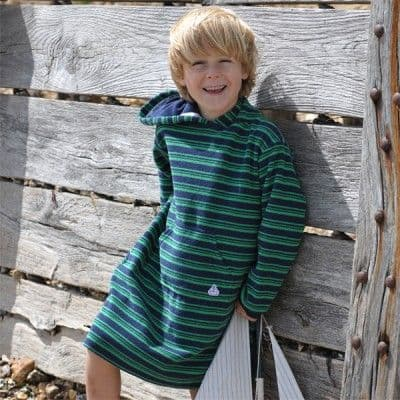 Mitty James Children's Boys Towelling Long Hooded Beach Top – Navy / Green Stripe