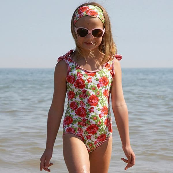 Mitty James Children's Girls Swimsuit Swimming Costume – Garden Rose Scoop Back with Bows