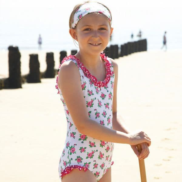 Mitty James Children's Girls Swimsuit Swimming Costume – Pink Rose Scoop with Gingham Ruffles