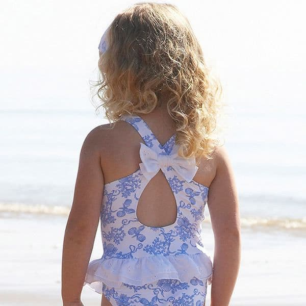 Mitty James Children's Girls Swimsuit Swimming Costume – Sky Blue Shell Crossover with Frill