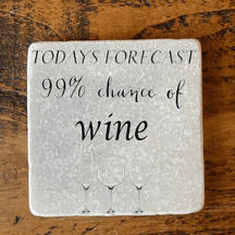 Today's forecast 99% chance of wine