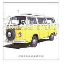 VW Camper Van Yellow Trivet Bay Window