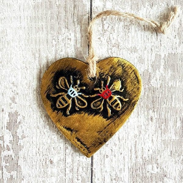 Blue & Red Heart Bee Decoration