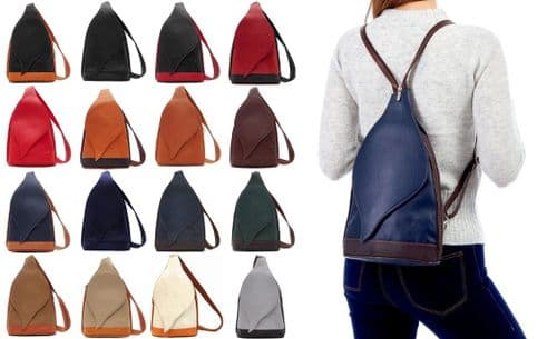 Handbag Bliss Italian Soft Leather Lightweight Rucksack Backpack and Shoulder Bag With Leaf Flap