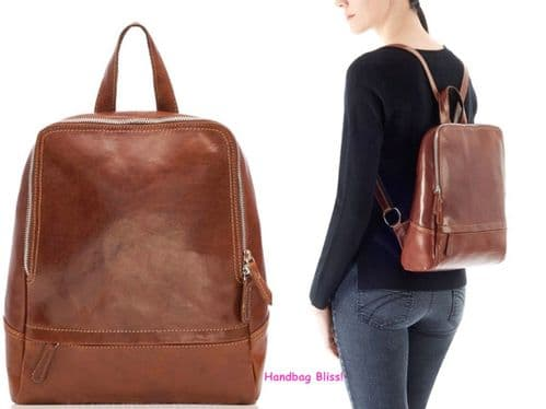CLEARANCE - Handbag Bliss Italian Smooth Natural Leather Backpack Rucksack  (Orig Price £79.99)