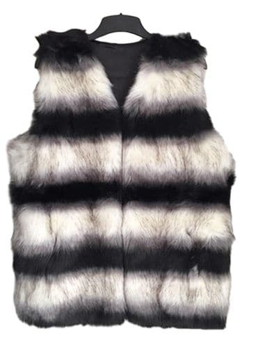 Handbag Bliss  Beautiful Faux Fur Gilet In Stunning Black And White Small Size