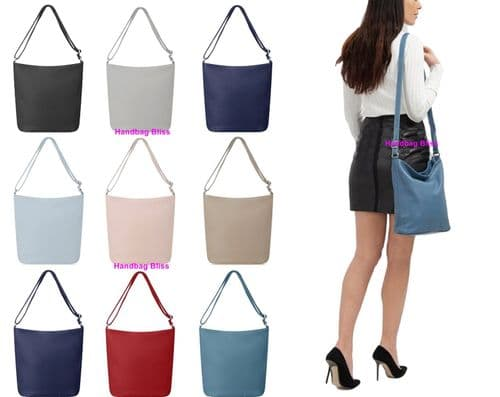 Handbag Bliss Genuine Italian Soft Leather Cross Body Shoulder Slouch Bag Handbag Deeper Style