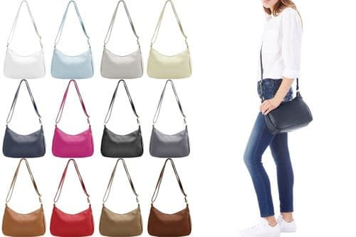 Handbag Bliss Genuine Italian Soft Leather Cross Body Shoulder Slouch Bag with Outer Zipped Pocket