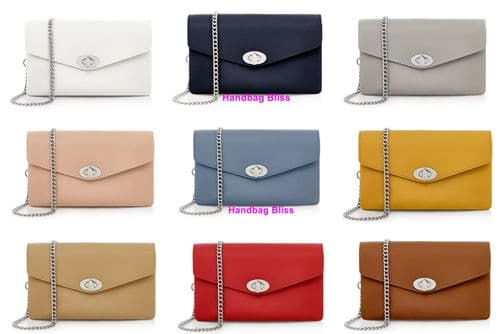 Handbag Bliss Italian Leather Clutch Shoulder Crossbody Purse Bag with Detachable Silver Chain Strap