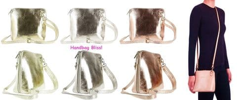 Handbag Bliss! Italian Leather Small Cute Metallic Colours Cross Body Shoulder Handbag