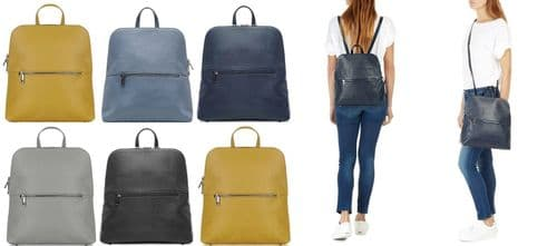 Handbag Bliss Med-Lg Italian Soft Grained Leather Backpack Rucksack (New Style)