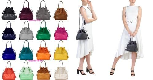 Handbag Bliss Small Leather & Suede Drawstring Handbag, Shoulder Bag Cross Body Bag