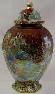A G Harley Jones Wilton Ware - Hexagonal  Fairyland Ginger Jar/Lid - Early 1900s - SOLD