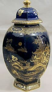 A G Harley Jones Wilton Ware - Large Hexagonal Chinoiserie Temple Jar with Lid - SOLD