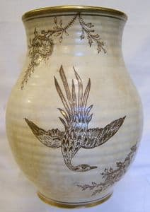 Arthur Wood & Son Large Ribbed Cream Vase - 1930s - SOLD