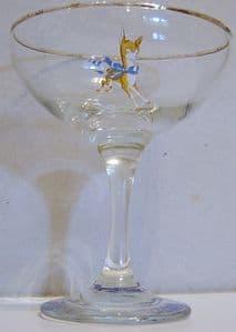 Babycham Original Glasses - Gold Bambi, Round Stem - BACK IN STOCK