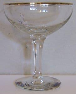 Babycham Original Glasses - White Bambi, Blue Logo, Hexagonal Stem - ONLY 1 remaining