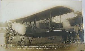 Black & White Used Postcard WWI Avro Biplane - John Drew 1915