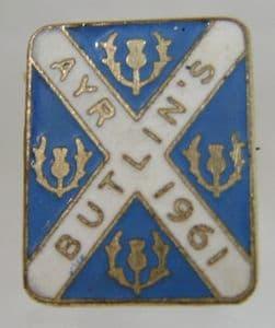 Butlins Holiday Ayr 1961 Enamel Pin Badge - Blue & White