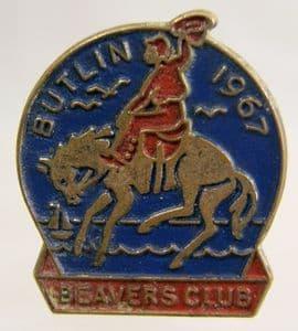 Butlins Holiday Beaver Club Enamel Pin Badge - Blue & Red - 1967