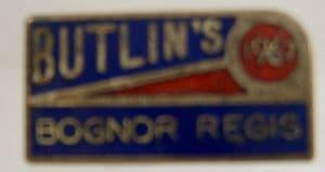 Butlins Holiday Bognor Regis Enamel Pin Badge - Blue, Yellow & Red - 1967