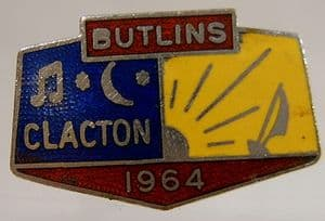 Butlins Holiday Clacton Enamel Pin Badge - Blue, Yellow & Red