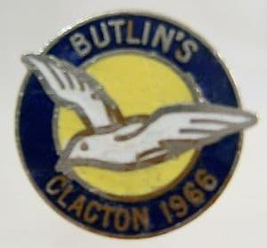 Butlins Holiday Clacton Enamel Pin Badge - Blue, Yellow & White - 1966