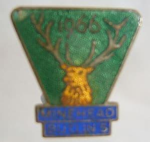 Butlins Holiday Minehead Enamel Pin Badge - Green & Yellow - 1966