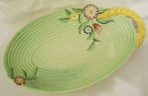 Carlton Ware 'Basket' Green Embossed Single Handle Sandwich Tray - 1940s