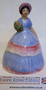 Carlton Ware Crinoline Lady Bell Figurine - Blue & Pink Dress - 1930s - SOLD