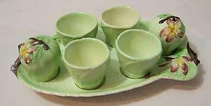 Carlton Ware Embossed 'Apple Blossom' Egg Frame/4 Egg Cups & Cruet Set - 1930s