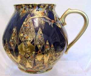 Carlton Ware Fantasia Enamelled Large Bulbous Vase with Handle - early 1930s