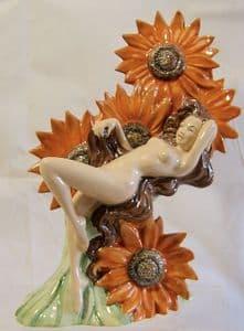 Carlton Ware Figurine - The Sunflower Girl - Bright Orange - 393/600
